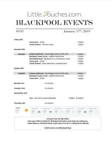 B2C Blackpool Visitors Free Guest Resource - Blackpool Shows and Events January 18 to January 24 - PDF What's On Guide Listings Print-off #143 Thursday January 17