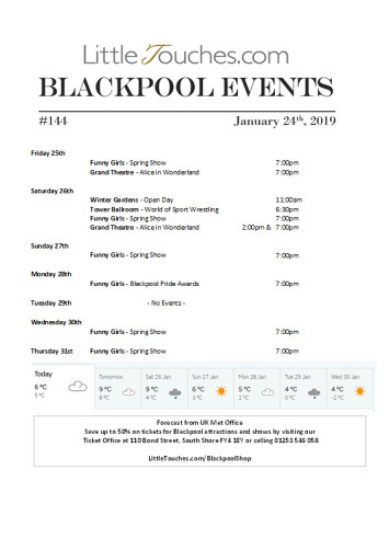 B2C Blackpool Visitors Free Guest Resource - Blackpool Shows and Events January 25 to January 31 - PDF What's On Guide Listings Print-off #144 Thursday January 24