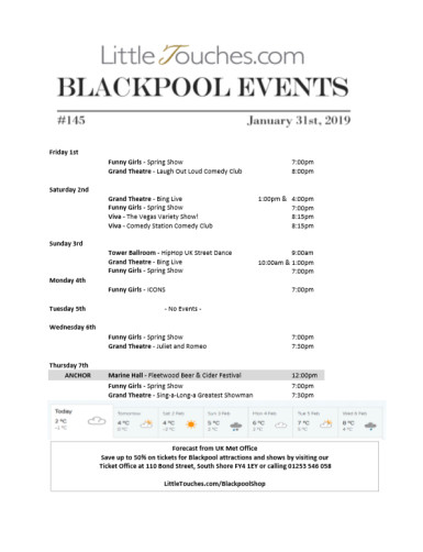 B2C Blackpool Visitors Free Guest Resource - Blackpool Shows and Events February 1 to February 7 - PDF What's On Guide Listings Print-off #145 Thursday January 31