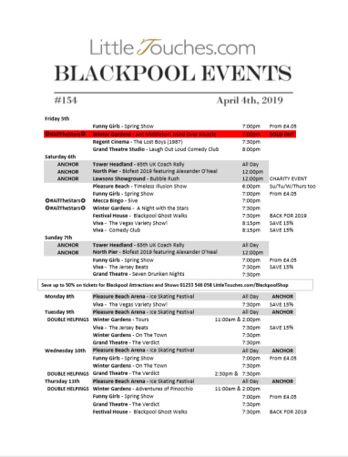 B2C Blackpool Visitors Free Guest Resource - Blackpool Shows and Events  April 5 to April 11 - PDF What's On Guide Listings Print-off #154 Thursday April 4