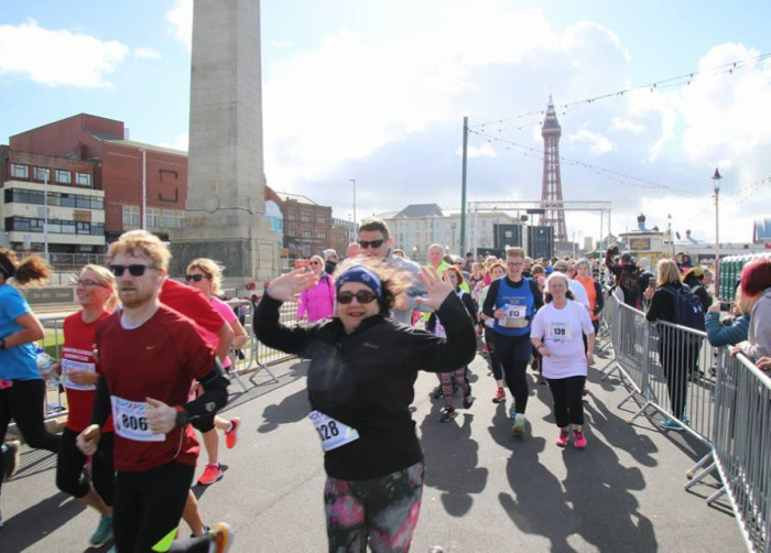 Blackpool Music Run Promenade Participants - Tower, War Memorial and Cenotaph View