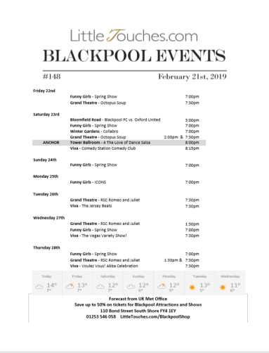B2C Blackpool Visitors Free Guest Resource - Blackpool Shows and Events February 22 to February 28 - PDF What's On Guide Listings Print-off #148 Thursday February 21