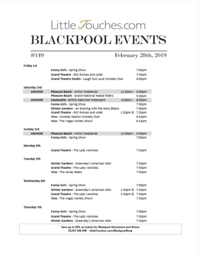 B2C Blackpool Visitors Free Guest Resource - Blackpool Shows and Events March 1 to March 7 - PDF What's On Guide Listings Print-off #149 Thursday February 28