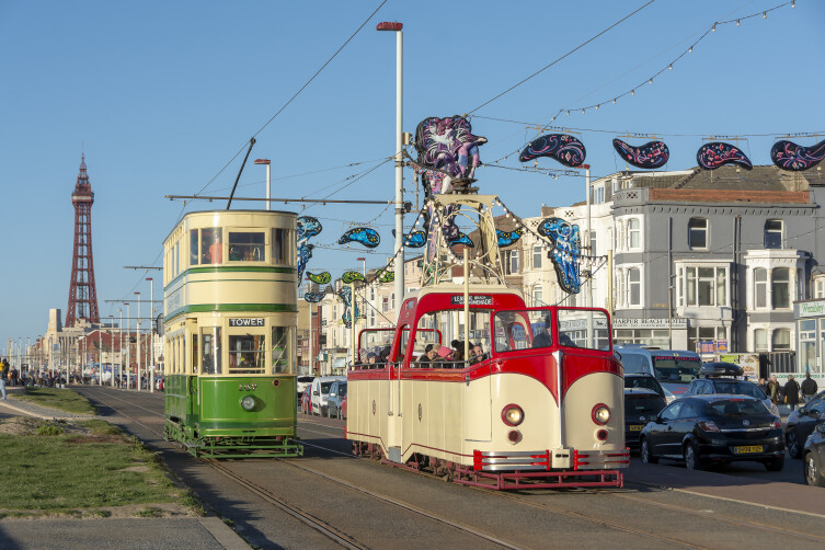 Heritage Trams on Blackpool's Golden Mile