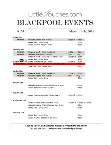 B2C Blackpool Visitors Free Guest Resource - Blackpool Shows and Events March 15 to March 21 - PDF What's On Guide Listings Print-off #151 Thursday March 14