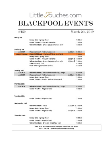B2C Blackpool Visitors Free Guest Resource - Blackpool Shows and Events March 8 to March 14 - PDF What's On Guide Listings Print-off #150 Thursday March 7