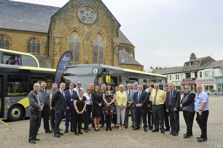 Blackpool Transport 15 new enviro200 team and stakeholders with Mayor Cllr Amy Cross