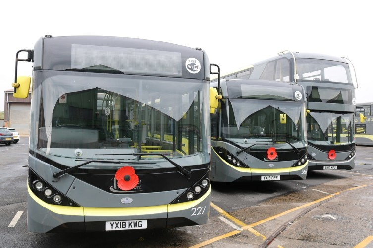 Large Poppies on Blackpool Transport Buses