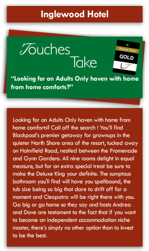 Touches Take Review - The Inglewood Hotel, Holmfield Road, North Shore, Blackpool Hotel for Adults Only